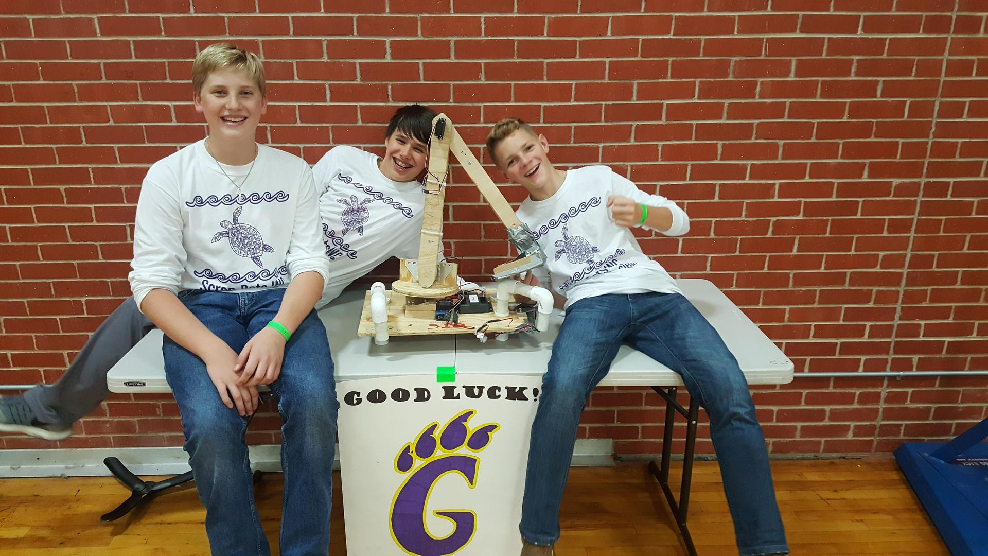 Picture from BEST Robotics Competition 2018. Left: Carter Whitfield. Center: Cody Warren. Right: Kolton Ferguson.
