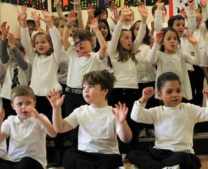 """Kindergartners at Lincoln School in Westfield take the stage to perform show tunes from popular Broadway productions including """"Annie,"""" """"Guys and Dolls,"""" """"Matilda,"""" """"Seussical"""" and """"The Sound of Music."""""""