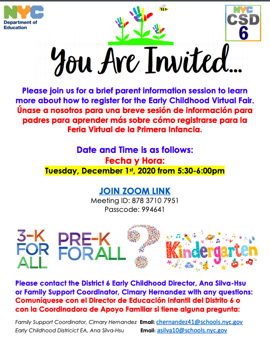 Early Childhood Virtual Fair Registration Meeting Flyer bilingual