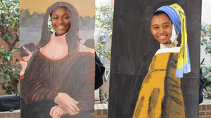 Two girls with heads in Mona Lisa and Girl with a Pearl Earring cut outs