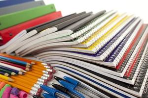 steno notebooks of various colors, pencils and various other school supply list items