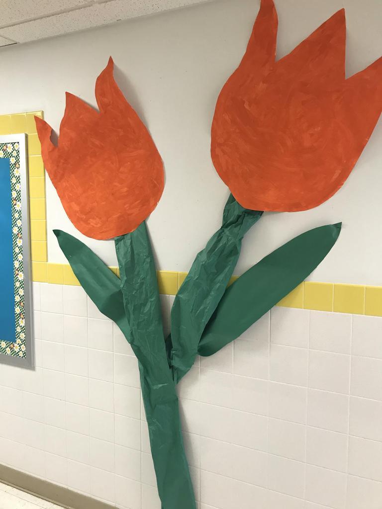 large orange paper tulip