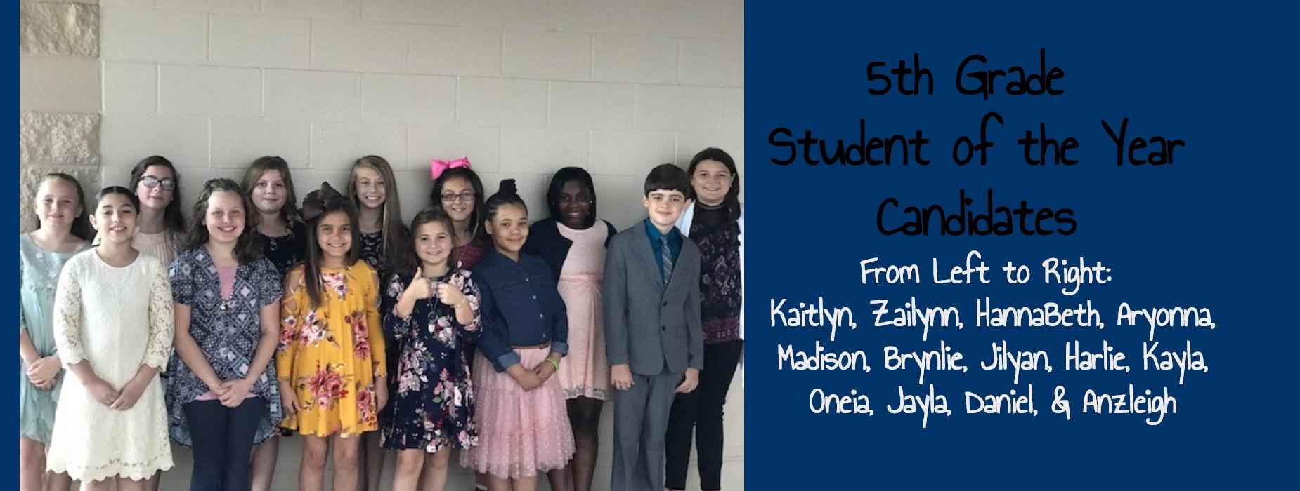 5th grade student of the year candidates