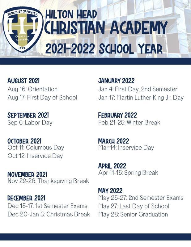 HHCA School Calendar 2021-2022