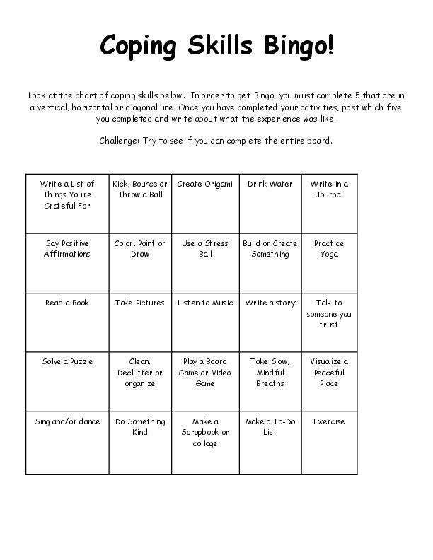 Coping Skills Bingo Sheet!  Try to fill your sheet.