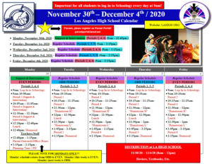 Los Angeles High School - Calendar - 11.30.20 - EVEN - English.PNG