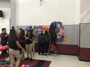Students decorating at Manor Middle School