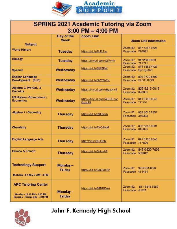 Spring 2021 Tutoring Schedule Featured Photo
