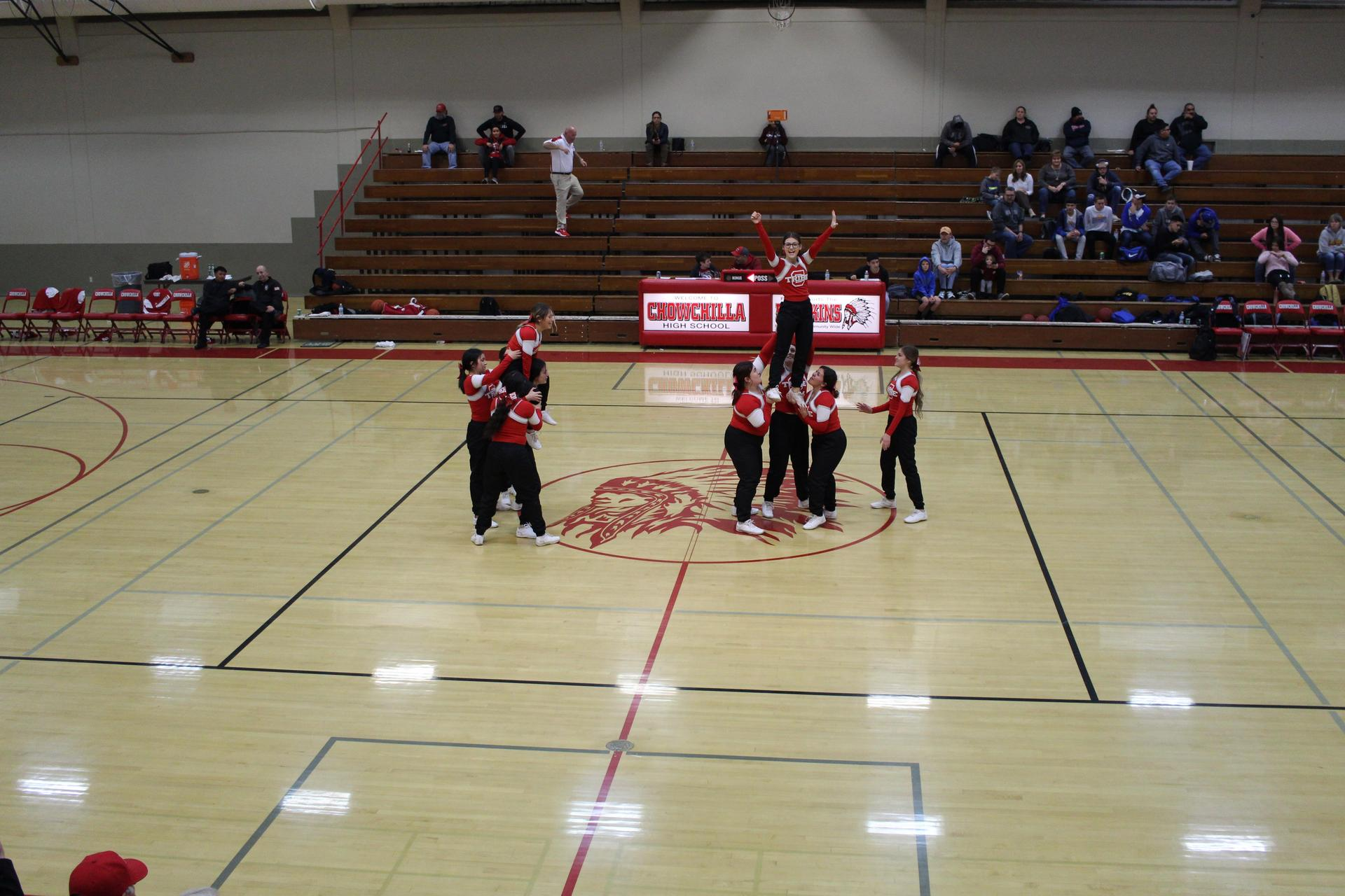 cheerleaders in action at dos palos game