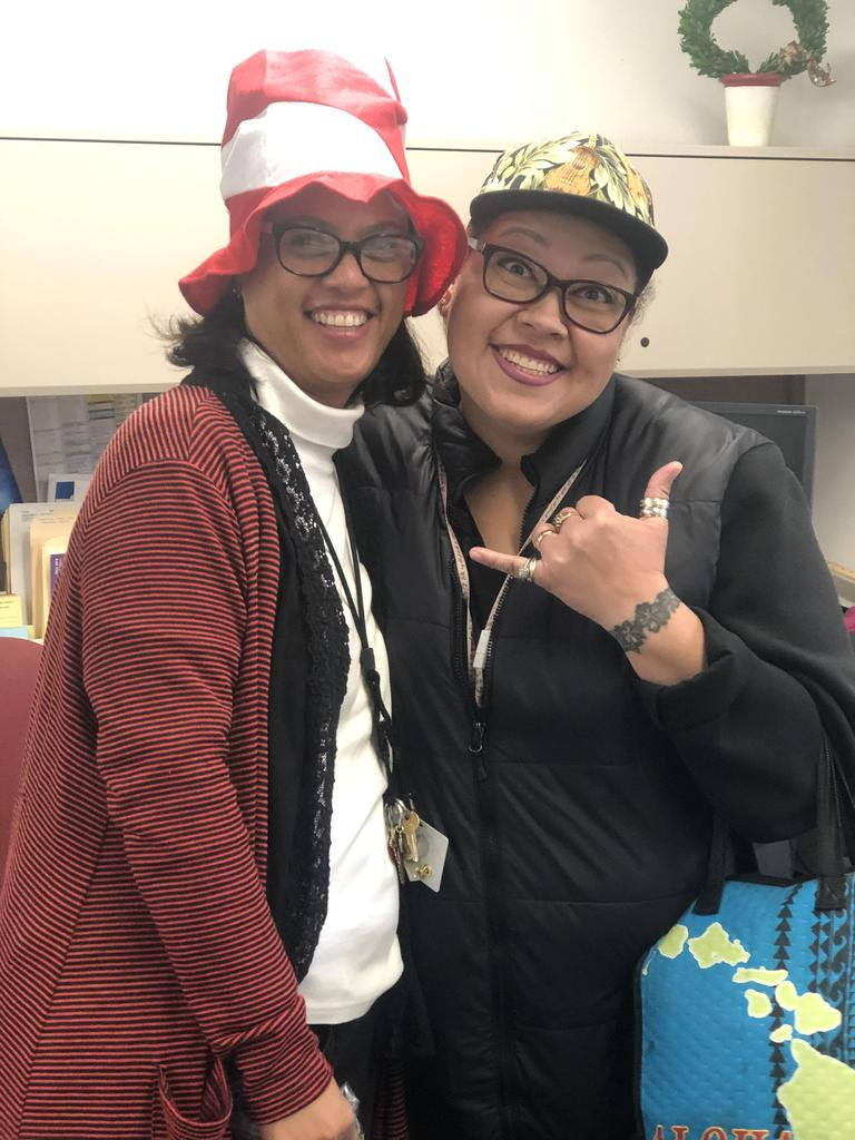 Miss Lorna and Miss Christine on Dr. Seuss Hat Day