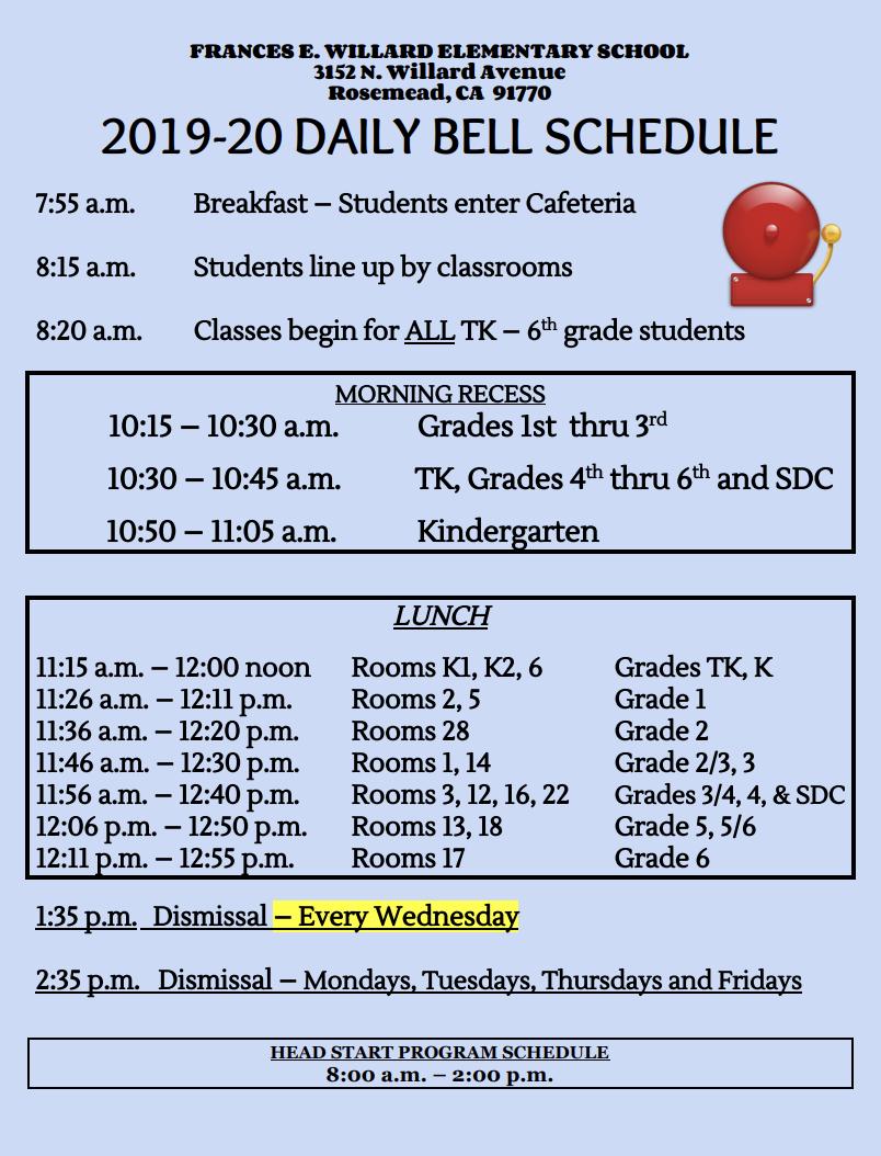 2019-2020 Bell Schedule