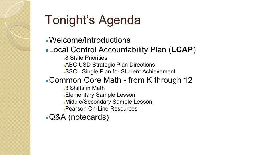 Common Core Math Parent Meeting – Common Core Math for