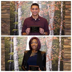 Students of the Month holding their awards