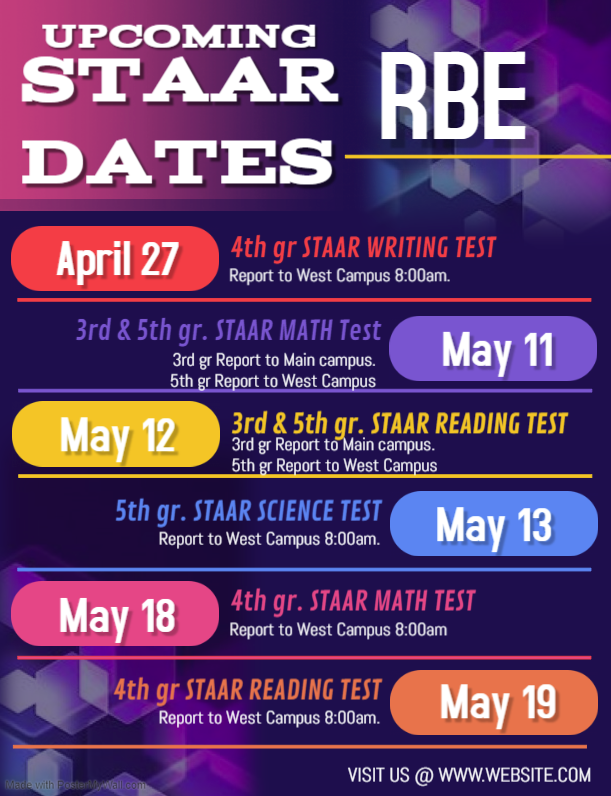 Upcoming STAAR Dates @ RBE Featured Photo
