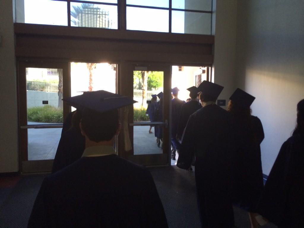 Students leaving for the stadium