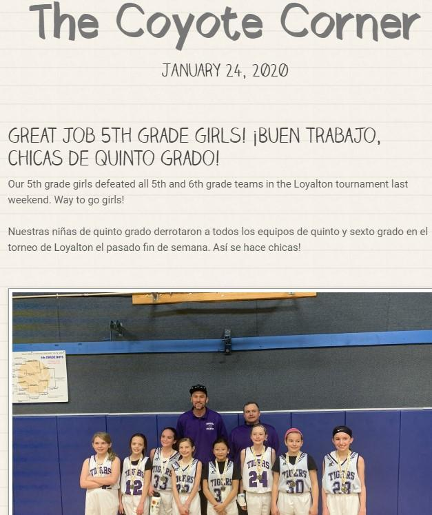 Screenshot of our newsletter with 5th grade Girls basketball champs