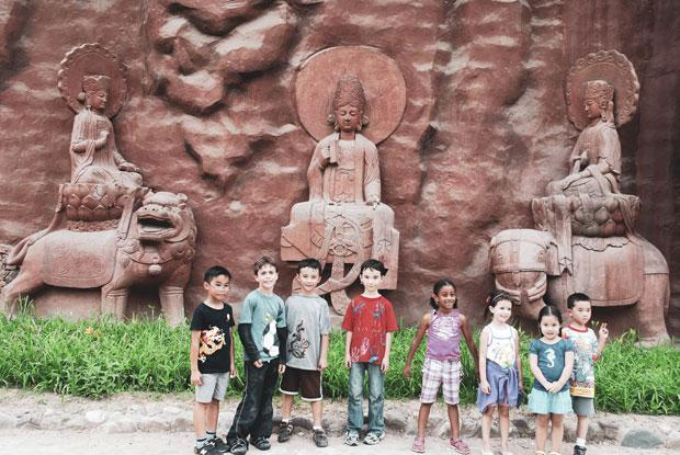 HudsonWay Immersion School students pose in front of a museum in China