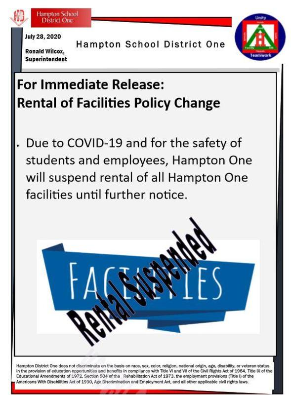Rental of Facilities Suspended