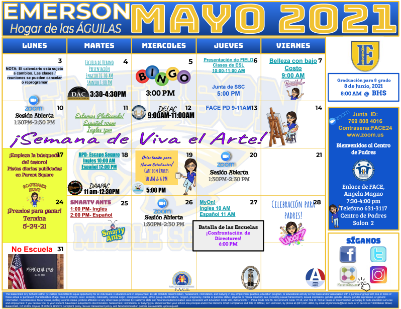 May Calendar Spanish