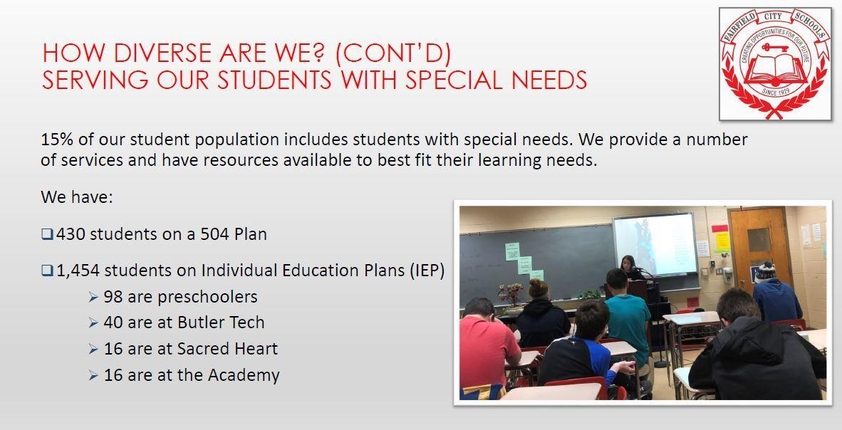 This is an image that shows the number of students on IEPs and 504 plans.