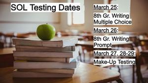 Testing Dates Spring 2019