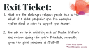 screen shot of questions aobut Islamaphobia and Covid-19
