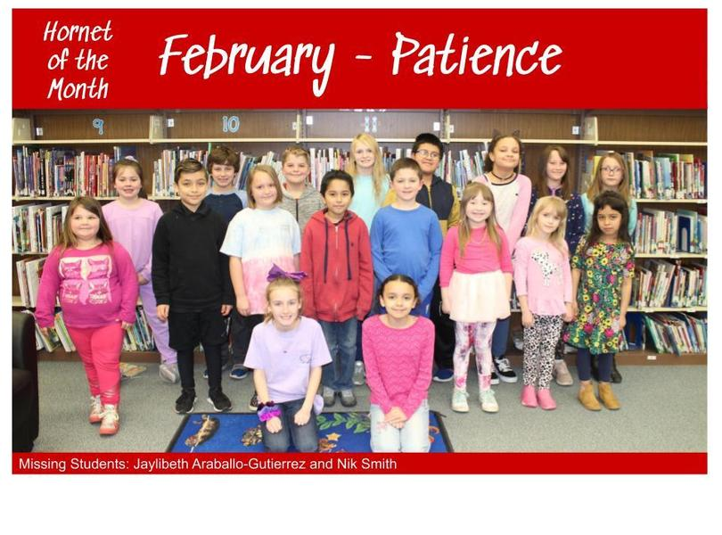 Image of Students for February's Hornet of the Month for the trait of Patience