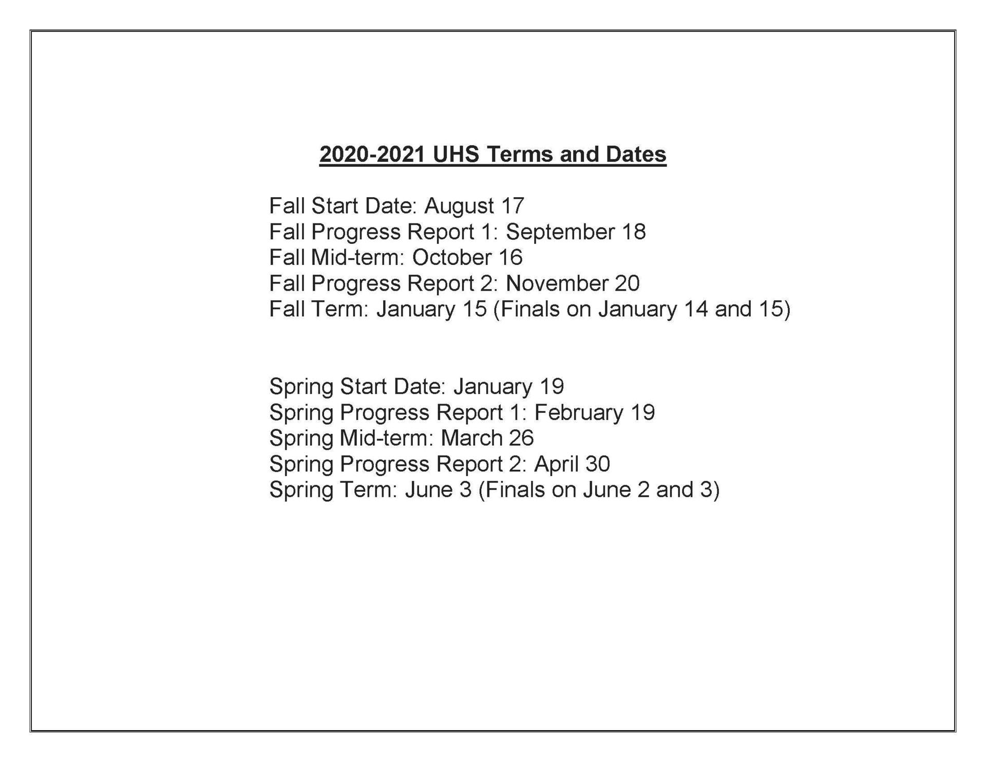 test and dates