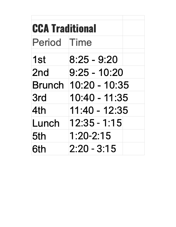 Traditional Bell Schedule