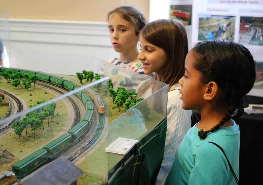 McKinley 3rd graders enjoy a small scale model railroad with representations of major Westfield landmarks, past and present, during a walking tour of Westfield on Oct. 23.
