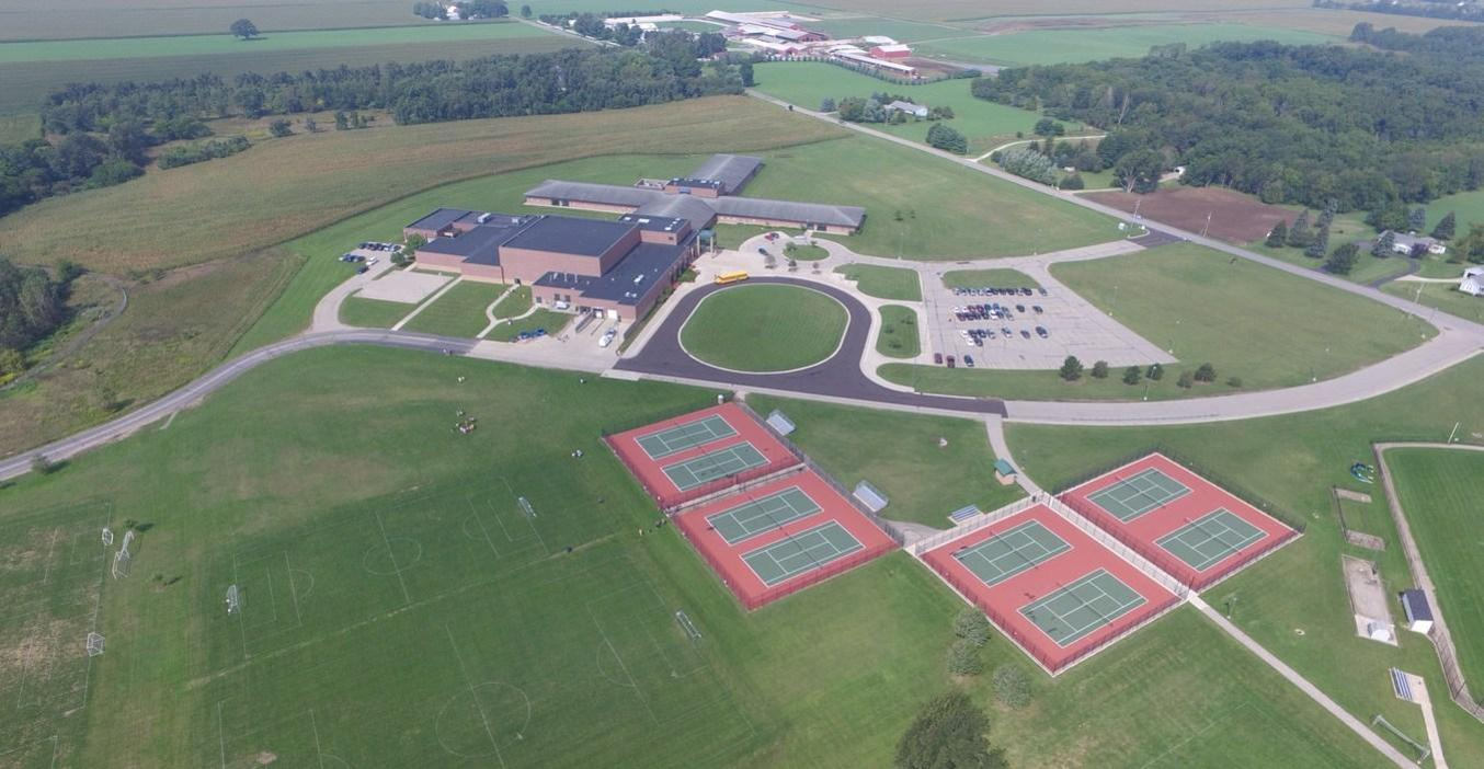 This aerial view shows the TK Middle School, soccer fields, tennis courts and surrounding areas.