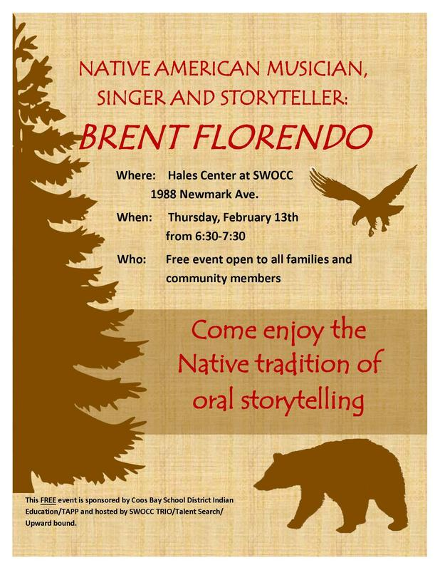 Native American Musician, singer, and storyteller: Brent Florendo Flyer