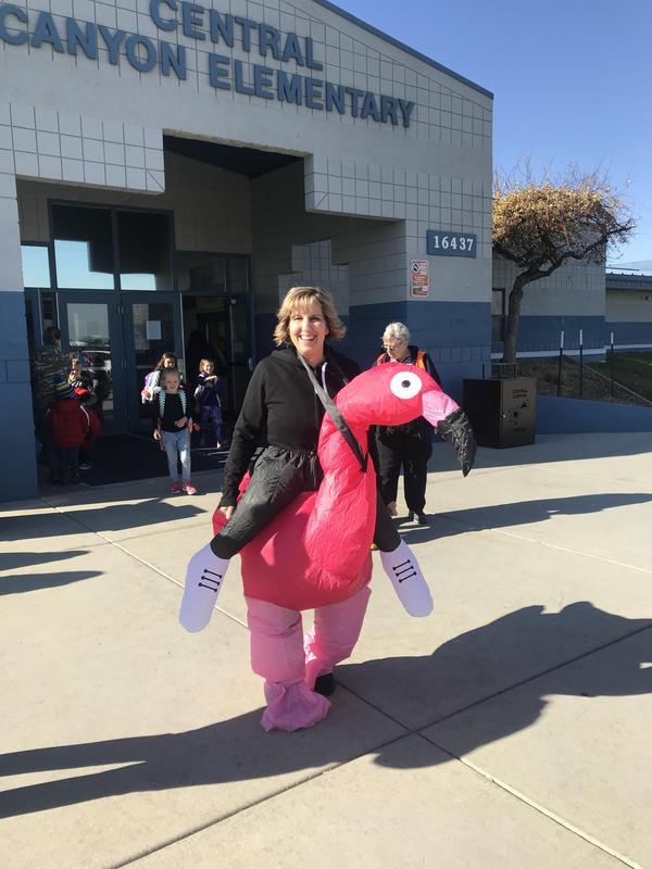 Mrs. Munoz dressed as a flamingo.