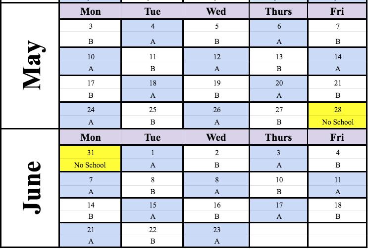 May/June Cohort Schedule