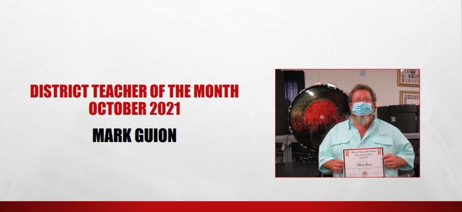 October 2021 Teacher of the Month Mark Guion