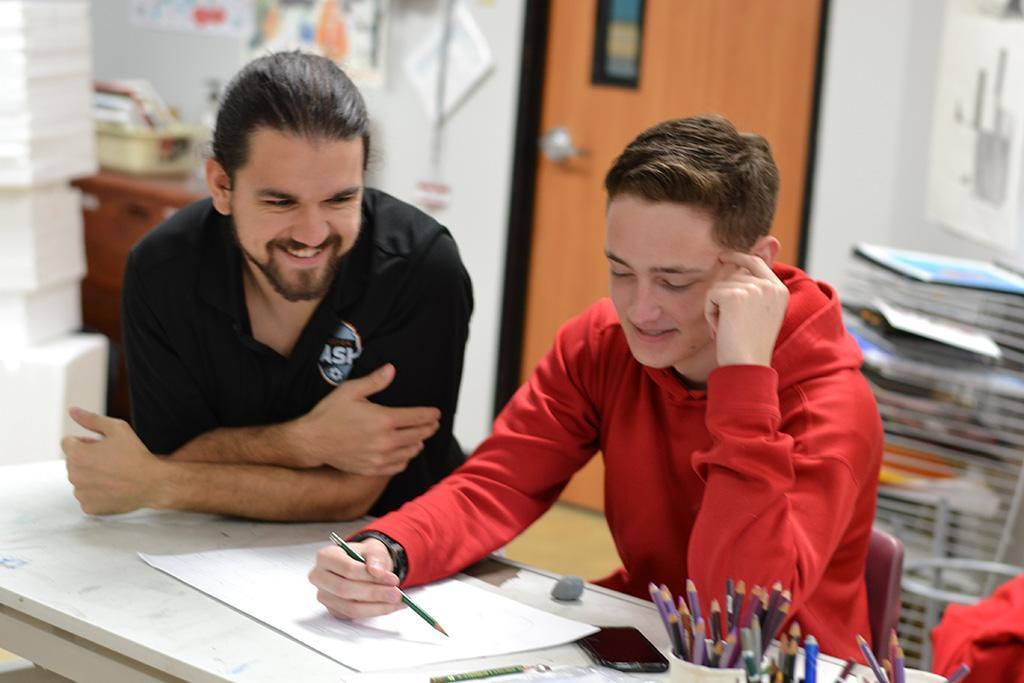 art teacher with student