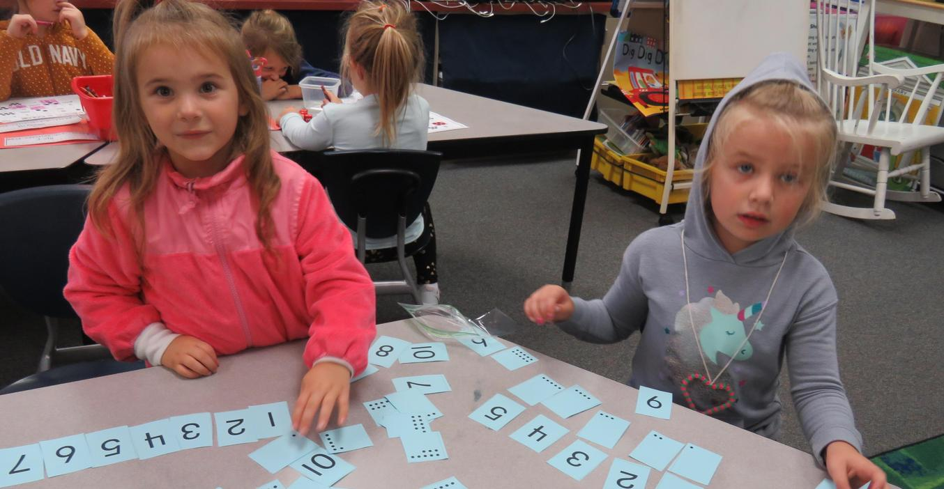 McFall students practice recognizing their numbers.