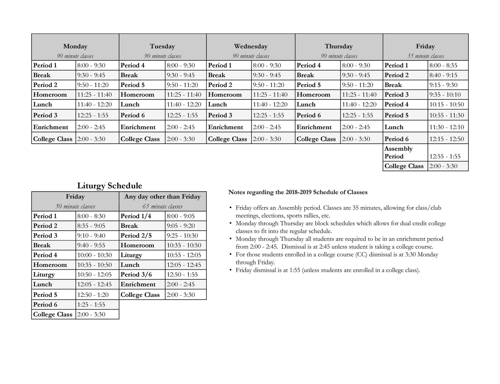 schedule of periods students bishop conaty our lady of loretto