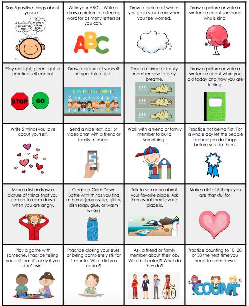 social emotional choice board