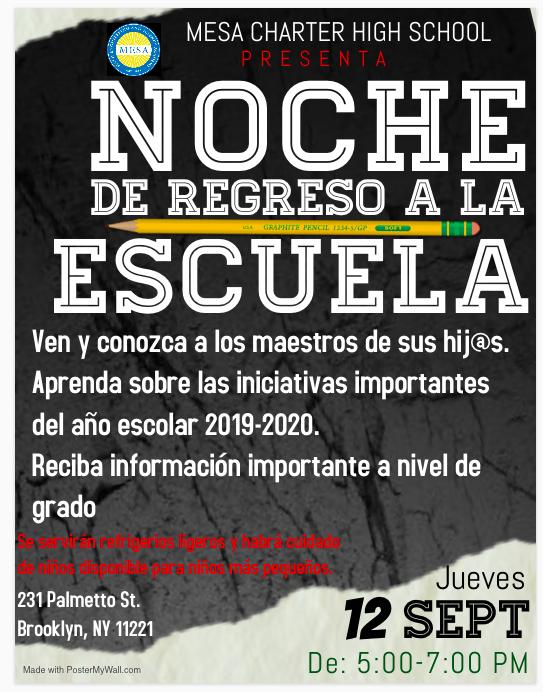 Back to School Night Flyer - Spanish
