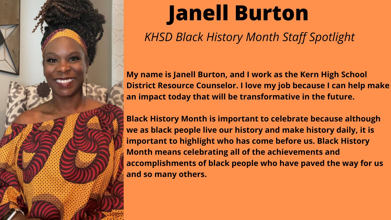 KHSD Black History Month Staff Spotlight: Janell Burton