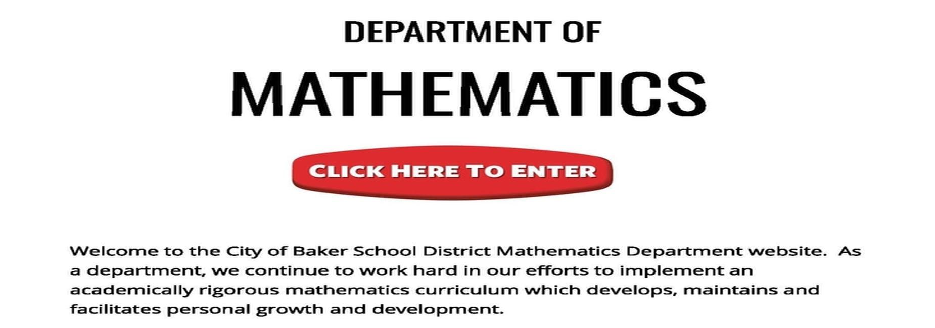 a graphic that advertises the City of Baker School System Department of Mathematics