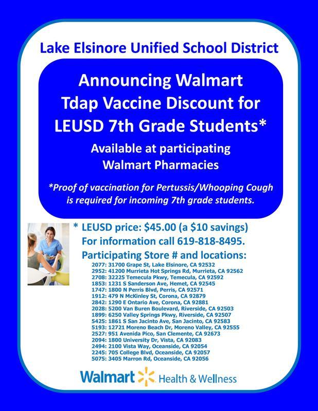 Walmart Tdap shot discounted for LEUSD incoming 7th grade students-flyer information.