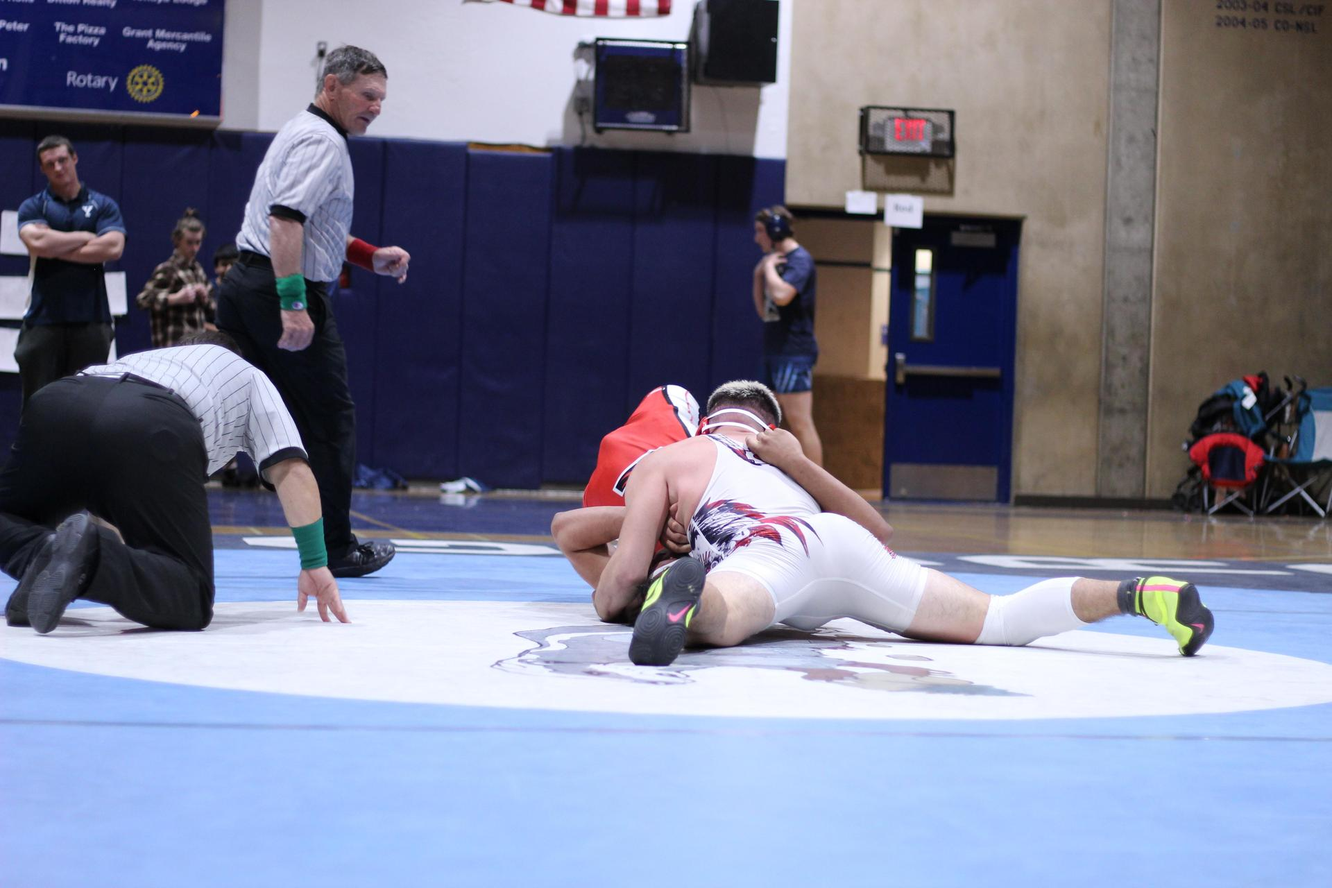 Chowchilla high wrestlers at league finals