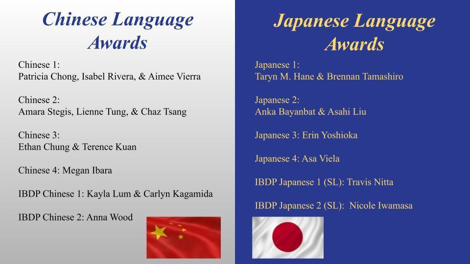 Chinese & Japanese Awards