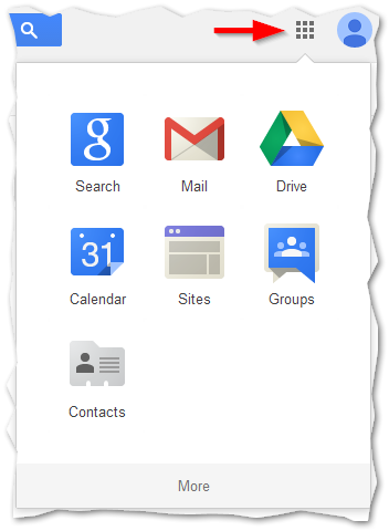 Button showing google apps