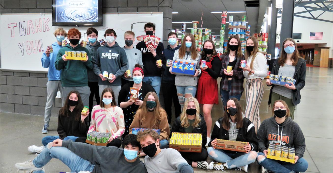TKHS students collected food to donate to Barry County United Way programs.