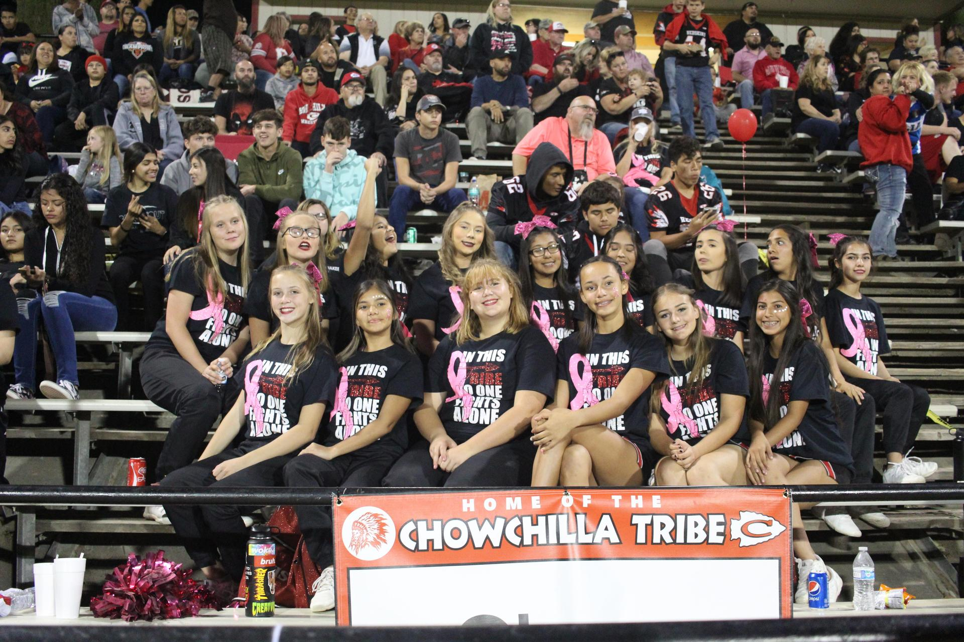 Tribe Cheerleaders at the Football Game