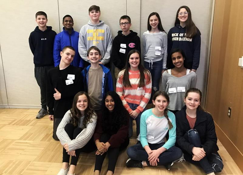 """Mars Area Middle School students (back row, from left) Adam Rohrbaugh, Nameer Dheen, Charlie Bickel, Ryan Babeo, Ella Nicotra, Peyton Varrenti, (middle row)  Declan Abbey, Mitchell Kulfan, Cecelia Crowley, Natasha Narasimhan, (front row) Addison Girdwood, Mira Ramanathan, Kendall Bruns and Addison Nailler competed in the AGLOA """"World Events"""" Games."""