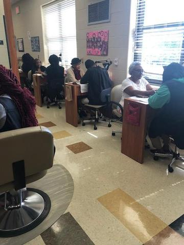 cosmetology students, manicure